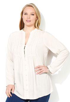 7196a0d61f0d09 Pleated Yoke Tunic Shirt Plus Size Shirts
