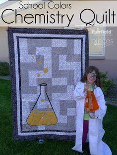 I LOVE discovering fun science and math fabrics.and texty fabrics and so when I discovered this Chemistry novelty line by Becky Marie Des. Quilting Tips, Quilting Tutorials, Craft Tutorials, Quilting Projects, Sewing Tutorials, Sewing Projects, Sewing Diy, Sewing Ideas, Boys Quilt Patterns