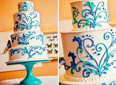 Unique wedding cakes...I LOVE this but I want the design all in different shades of purple