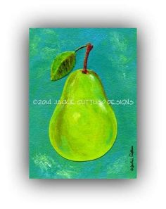 "Pear art, 5 x 7"" Archival print, Kitchen art, Print of pear painting, Collage, Dining room art, Lime green pear, Lime green kitchen wall art"