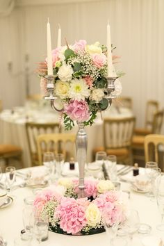 Candelabra and wreath, pinks, whites, hydrangea, astible, Roses, gyp