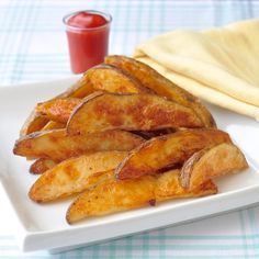 Unfried Crispy Wedge Fries - Minimum oil and seasoned to spicey if you like! Tried these last night and it's a KEEPER!!