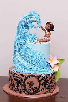 Beautiful Birthday Kids Cake, Disney Moana Cake and a Big Wave, Boy or Girl Birthday Cake - Pretty Cakes, Cute Cakes, Beautiful Cakes, Amazing Cakes, Fancy Cakes, Dessert Party, Bolo Tumblr, Bolo Moana, Elegante Desserts