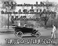 #ThrowbackThursday - The first ever driving school to open its doors was the Pilot School of Motoring of North London, in 1909.