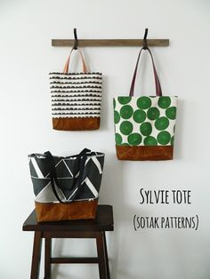 sylvie tote {new pdf pattern in three sizes}