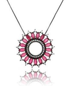 colar mandala rubi com banho de rodio negro e zirconias cristais semijoias finas
