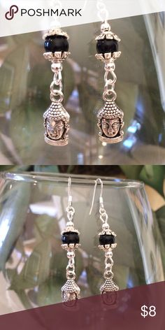 Buddha earrings These have 925 Sterling silver ear wires. They hang 1 3/4 inches. They have a black bead and antique silver Buddha. Handmade by me. This is my bottom price Jewelry Earrings