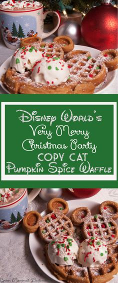 Hot cocoa and Mickey waffles? Check out this recipe for Disney World's pumpkin spice waffle with ice cream at the Very Merry Christmas Party. Recreate it with this simple recipe at home! It's a perfect treat for Christmas morning! #recipe #holiday