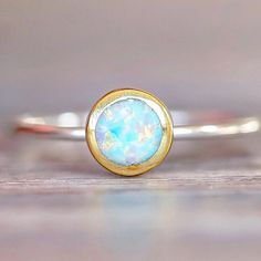 O P A L ♥️ Two Tone Round Opal Ring || Available in our 'Gems and Stones' Collection || www.indieandharper.com