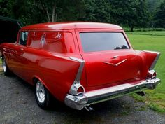 1957 Chevy Sedan Delivery... what dad's car COULD look like.  Don't think we would paint it red.