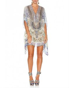 Camilla Sea Odyssey Short Lace Up Silk Kaftan - Catriona MacKechnie