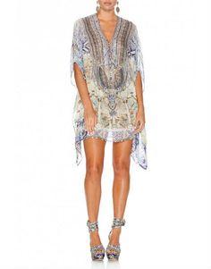 Camilla Sea Odyssey Short Lace Up Silk Kaftan - Catriona MacKechnie