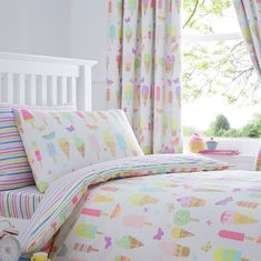 bluezoo Kids' white 'Ice creams' duvet cover and pillow case set Best Bedding Sets, Luxury Bedding Sets, Comforter Sets, Bed For Girls Room, Girl Room, Girls Bedroom, Kid Bedrooms, Bedroom Ideas, Cream Pillow Covers