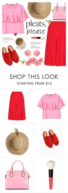 """Pleats, Please!"" by alexandrazeres ❤ liked on Polyvore featuring Gucci, MANGO, Flora Bella, Bobbi Brown Cosmetics, Ray-Ban, pleatedskirt, fashionset, redandpink and pleatsplease"