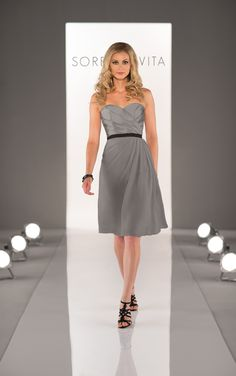 """Strapless cocktail dress featuring a pleated Satin bodice, a soft Chiffon skirt, and a 1"""" Grosgain Ribbon Sash to accentuate the waist. Also available in floor length."""