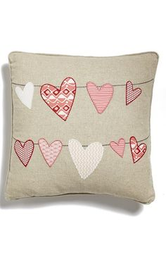 Levtex Embroidered Hearts Accent Pillow Nordstrom-Home and Garden Design Ideas Cute Pillows, Kids Pillows, Throw Pillows, Free Motion Embroidery, Machine Embroidery, Applique Cushions, Cat Cushion, Tooth Fairy Pillow, Fabric Journals
