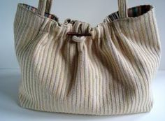Knitters Project Bag Knitting Cream Upholstery Tote Bag  by ButtermilkCottage for $70.00