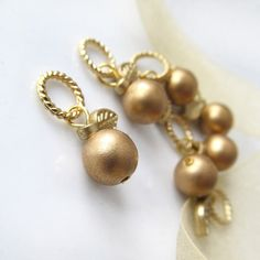 The Golden Apples  Six Handmade Stitch Markers  5.0 by LadyDanio, $9.00