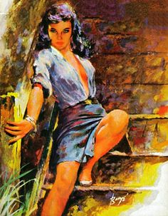 "If I was to walk by a woman like this, my first thought would be to stop and introduce myself. My second thought would be that she looks like trouble. Hopefully rational thought would set in before events turned south. This painting was on the cover of the paperback ""Little Tramp"" by Gil Brewer."