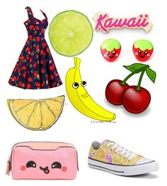 """Cute Kawaii Fruit"" by lovegymnastics66 ❤ liked on Polyvore featuring Anya Hindmarch, Converse and Silken Favours"