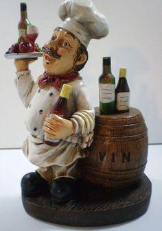 Tall 11 5 Italian French Bistro Chef Figurine Statue Serving Wine Ebay