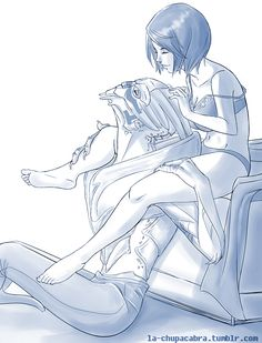 FemShep and Garrus - Cute image - Garrus looks like a cat getting scratched.