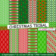 "Buy Tribal digital paper: ""CHRISTMAS TRIBAL"" with tribal patterns and background, arrows, feathers, leaves, chevrons in christmas red and green by clairetale. Explore more products on http://clairetale.etsy.com"