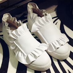 Ruffles Design Women Flats White Casual Loafers Slip On Height increasing Flat Shoes Woman Ballet Shoe Espadrilles Creepers
