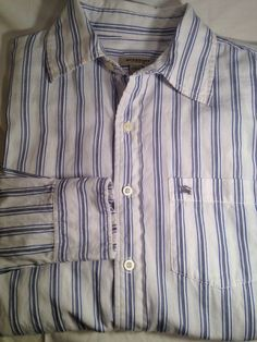 BURBERRY LONDON White Striped Button-Front Shirt SIZE LARGE * GENTLY USED #Fashion #Style #Deal