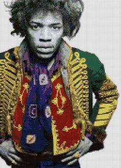 Jimi Hendrix portrait Cross Stitch pattern PDF EASY chart