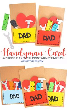 Our Father's Day Handyman Card is perfect for the fix-it-all dad in your life. With Free Printable Handyman Card Template. Kids Fathers Day Crafts, Fathers Day Art, Happy Fathers Day, Crafts For Kids, Homemade Fathers Day Card, Easy Crafts, Diy Father's Day Cards, Fathersday Crafts, Father's Day Activities