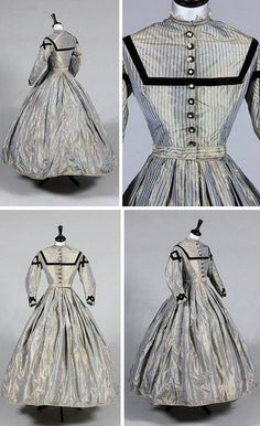 A blue and white striped silk day dress with navy velvet trim, ca. 1865. Kerry Taylor Auctions/Artfact