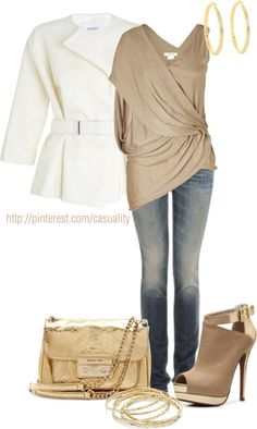 """Gold Draped Top & Mk"" by casuality on Polyvore"