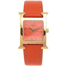 Hermes Lady's Yellow Gold Stainless Steel H Quartz Wristwatch | From a unique collection of vintage wrist watches at https://www.1stdibs.com/jewelry/watches/wrist-watches/