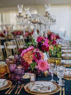 Jennifer and Randy San Ysidro Ranch Wedding, Colorful Centerpieces