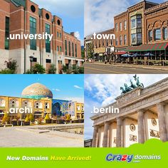 From your home town to the city of Berlin, and from universities to architecture, we've got some great new domains for you this week! Check them out http://www.crazydomains.com/?piutab  As if that's not enough, you can also get .TOYS and .REISEN (the German word for travel) this week.  #UNIVERSITY #TOWN #ARCHI #BERLIN #REISEN #TOYS #webdomains #domainnames