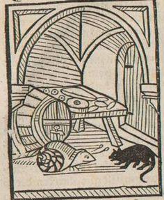 Woodcut of a Fable taken from  'Das buch der Natürlichen weißheit',  Ulrich von Pottenstein (Austrian), 1490, woodcut, Die Bayerische Staatsbibliothek, Munich S for Snail: cat