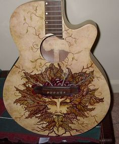 Greenman Guitar by on DeviantArt Guitar Pics, Guitar Art, Music Guitar, Cool Guitar, Unique Guitars, Custom Guitars, Fender Telecaster, Fender Guitars, Rick E