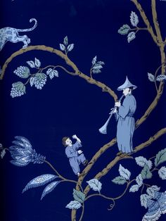 A stunning chinoiserie wallpaper in blue from Stroheim available at AmericanBlinds.com