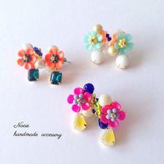 「✨春色ピアス✨ #手作り#アクセ#アクセサリー#ピアス#イヤリング#handmade#お花#accessory#ハンドメイド」