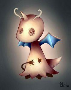 Mimikyu, Dragonite, sad, crying; Pokémon
