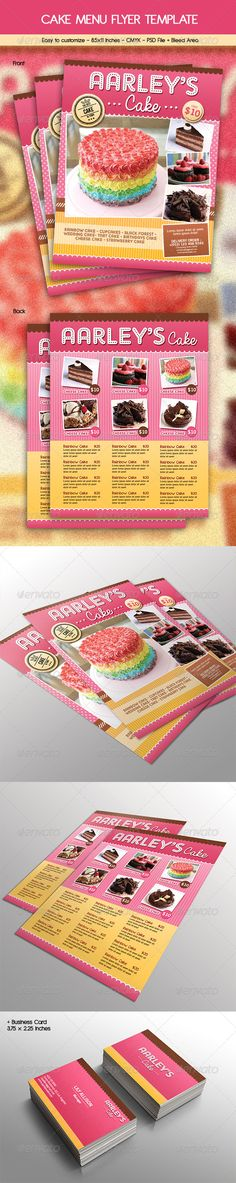 Cake Menu Flyer + Business Card  #pink #ice cream flyer #food menu • Click here to download ! http://graphicriver.net/item/cake-menu-flyer-business-card/6784299?ref=pxcr
