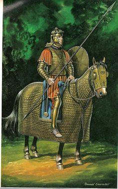 Catafracto romano (Siglo IV), por cortesía de Ron Embleton. Más en www.elgrancapitan.org/foro
