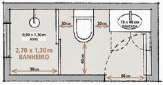 Para planejar ambientes pequenos é necessário pensar nas medidas mínimas para que o ambiente funcione bem....            Pesquisei... Bathroom Layout Plans, Small Bathroom Layout, Modern Bathroom Design, Bathroom Interior Design, Wheelchair Accessible Shower, Toilet Plan, Small Shower Room, Small Bathroom Inspiration, Diy Swimming Pool