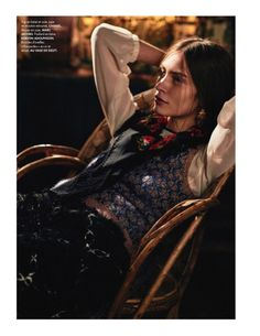 Model Marine Deleeuw lives the simple life for this fashion editorial featured in the December 24, 2015, issue of ELLE France. Called 'Un Moment Russe' or 'Russian Time', the French model embraces folk style including luxe layering and printed headscarves. Photographed by Serge Leblon and styled by Anne-Marie Brouillet, Marine stuns in the designs of …