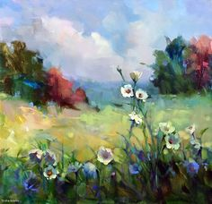 White Wildflowers by Trisha Adams Oil ~ 30 x 30