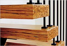 PSL color and banding end grain exposure Stairs And Doors, Open Stairs, Rustic Stairs, Stair Treads, Furniture Projects, Diy Projects, Wood Beams, Engineered Wood, Architecture