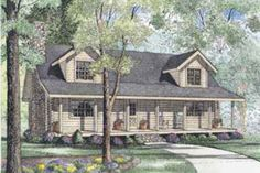 Houseplans.com Front Elevation Plan #17-494 Needs a garage, and office space...