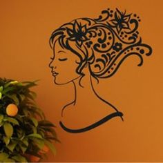 Woman and Flowers Wall Decal