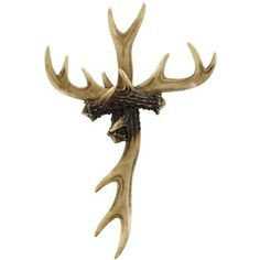 """Enhance fishing and hunting themed decor with this Antler Cross. The solid, polyresindecor piece is painted cream and dark brown with a shiny, smooth finish. It is perfect for any wall of your choosing.    Dimensions:      Width: 9""""    Height: 14""""      Hardware:      1 - Sawtooth hanger"""
